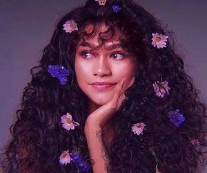 zendaya, flowers, and hair image