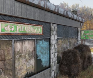 abandoned, pharmacy, and sign image