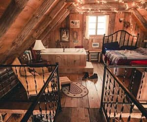 bedrooms, cabin, and cozy image