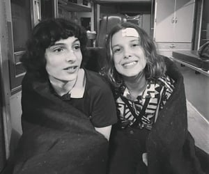 black and white, finn wolfhard, and eleven image
