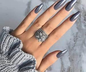 nails, grey, and ring image