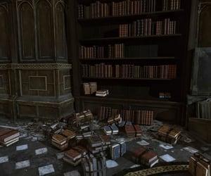 bookcase, books, and castle image