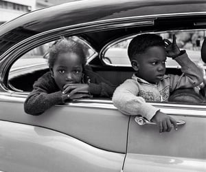 black and white, car, and child image