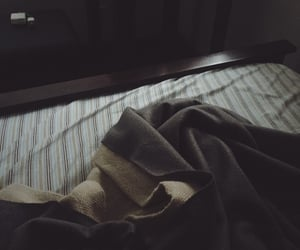 bed, bedroom, and gloomy image