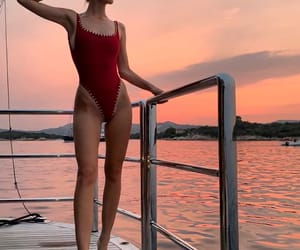 model, red swimsuit, and fashion style image