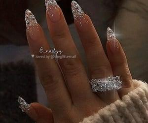 nails, diamond, and glitter image