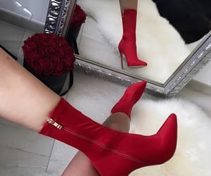 boots, heels, and red image