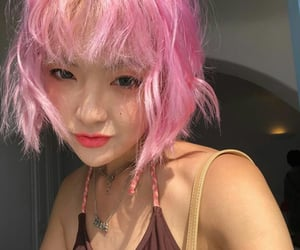 asian girl, colored hair, and pink image