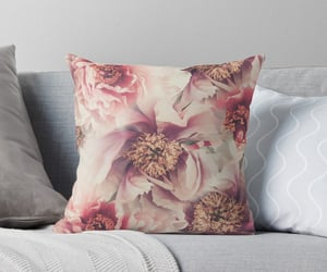 flowers, peonies, and throw pillow image