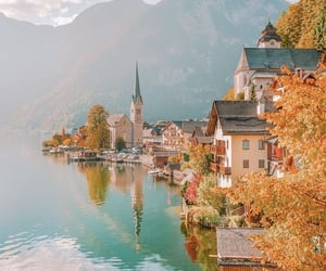 architecture, fall, and mountains image