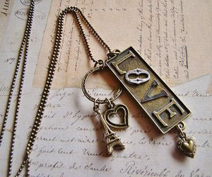 love, paris, and necklace image