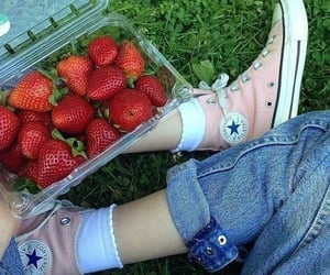strawberry, aesthetic, and converse image