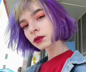 colored hair, girls, and purple hair image