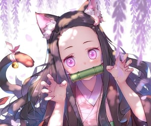 brown hair, cat girl, and ears image