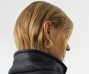 blonde, hairstyle, and earrings image
