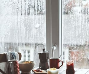 rain, breakfast, and coffee image