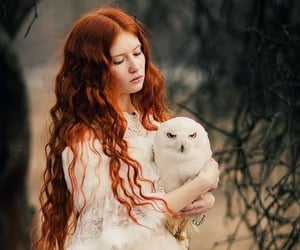 red hair, girl, and owl image