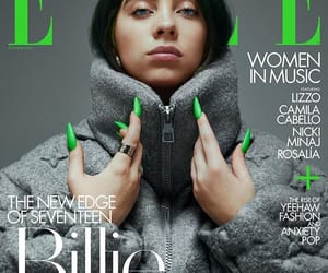 billie eilish, green, and magazine image