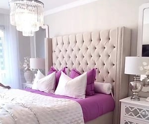 bed, bedroom, and chandelier image