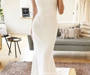 bridal gown, wedding party dress, and satin wedding dress image