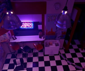 neon, pizzeria, and fnaf image