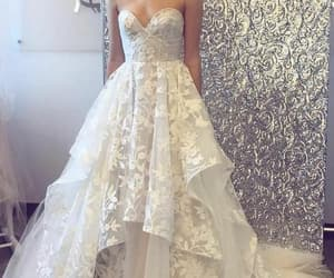 wedding gown, lace wedding dress, and cheap bridal dress image