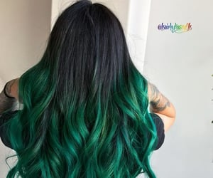 black hair, colored hair, and green hair image