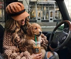 dog, puppy, and starbucks image