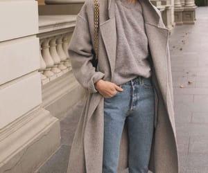 fashion, coat, and grey image