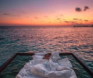 sunset, beautiful, and ocean image