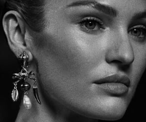 black and white, earring, and fashion image