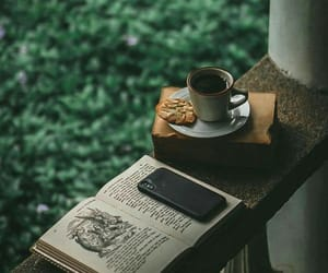 coffee, book, and green image