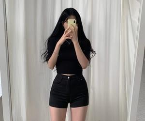 black, shorts, and fashion image