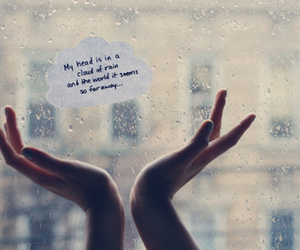 text, rain, and hands image