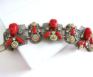 etsy, red african mask, and red bracelet image