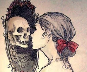 drawing, mirror, and skull image