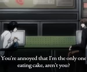 annoyed, death note, and cake image