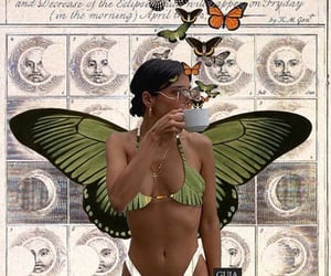 butterflies, collage art, and girl image