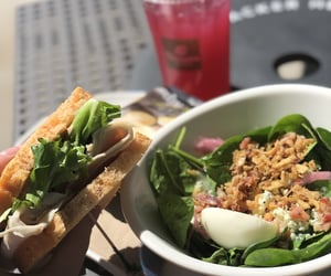 panera bread, cobb salad, and lunchtime image