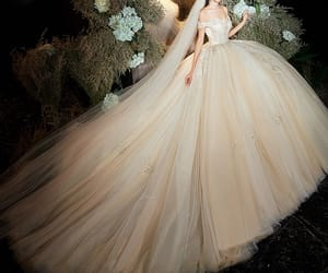bridal, champagne wedding dress, and bridal gown image