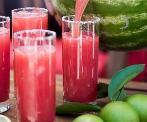 watermelon, juice, and drink image