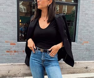 black, gucci belt, and ripped jeans image