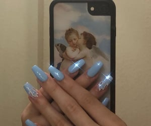 accessories, acrylics, and baby blue image