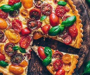 basil, pie, and pizza image