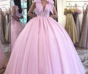 pink prom dress, elegant prom dress, and ball gown prom dress image
