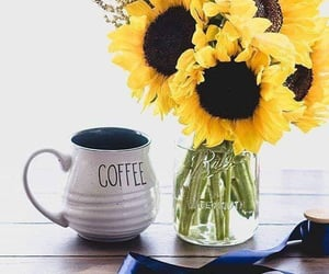 coffee, flowers, and sunflowers image
