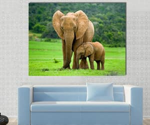 canvas wall art, elephant with adult one, and elephant canvas wall art image