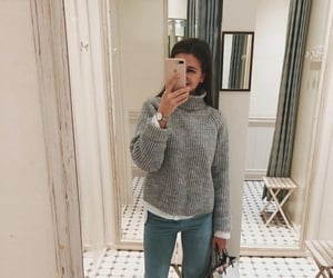 blue jeans, grey sweater, and fashion image