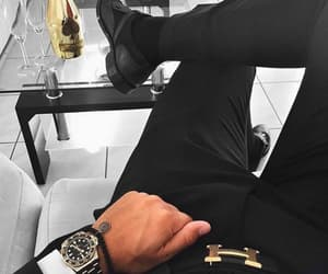 black, man, and watch image