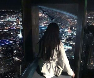 night, city, and girl image
